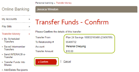 Transfer funds Confirm page