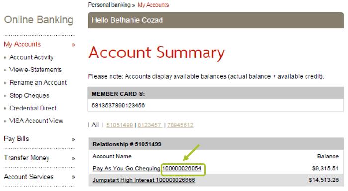 Fianncial account number in desktop