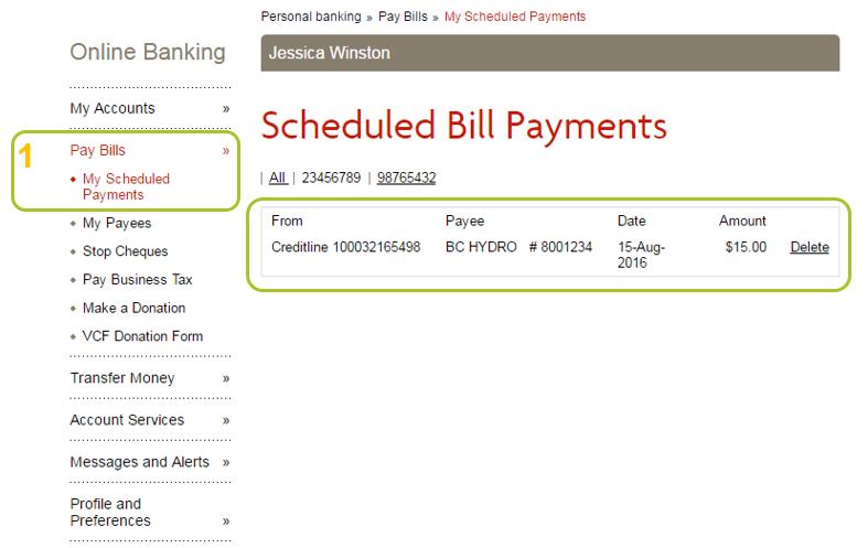 Scheduled bill pay location