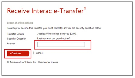 interac e transfer how to receive an email