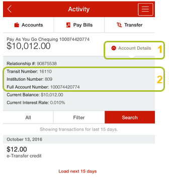 App account details