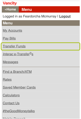 Mobile transfer to member 2