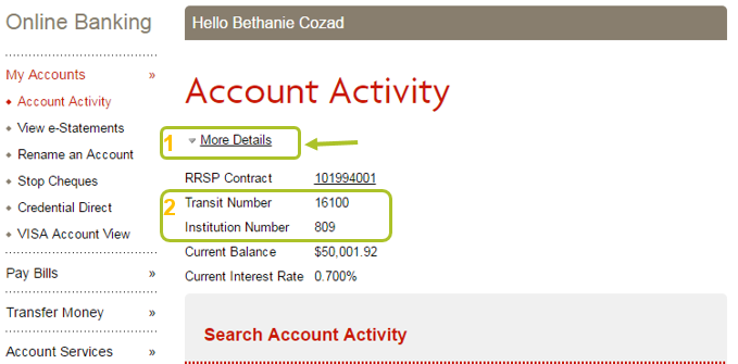 how do i find out my bank transit number and institution number