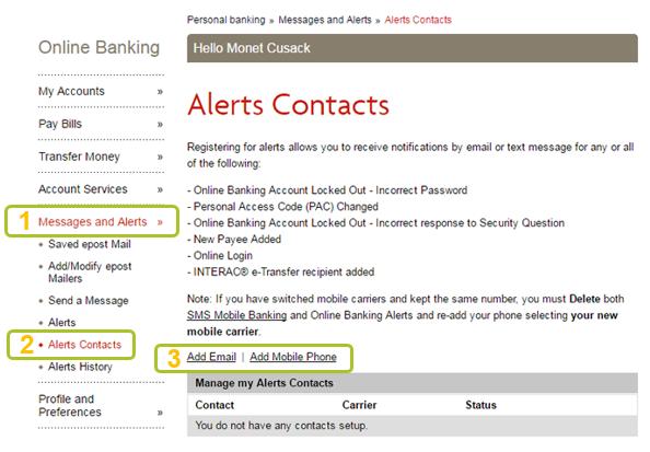 Alert contacts