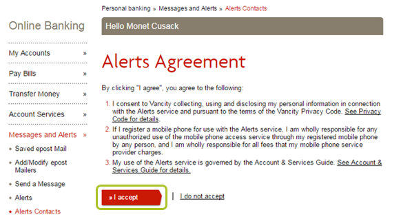 Alert contacts agreement