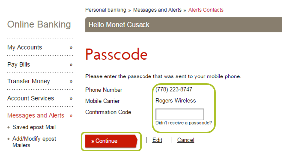 Alert contacts passcode
