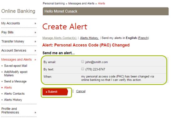 Alert select contact