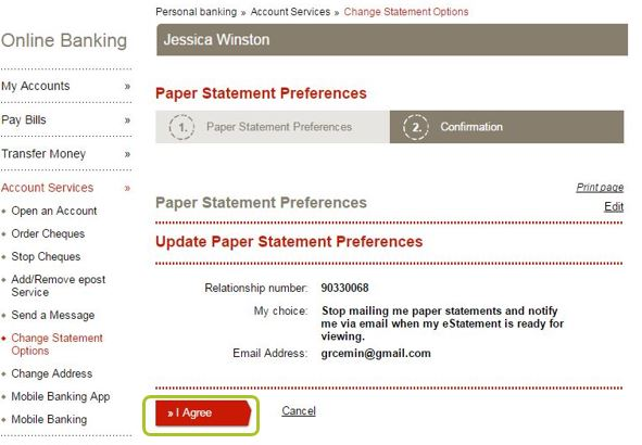 how to change rbc statement to paperless
