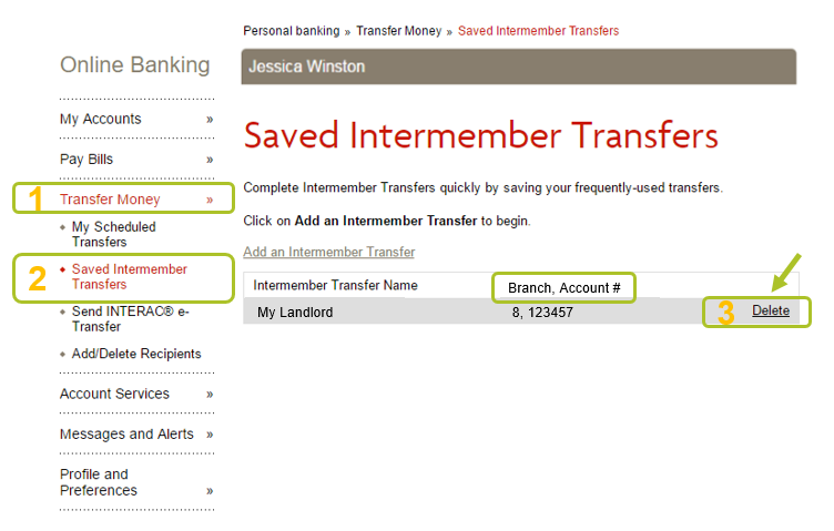 Delete previously saved transfers