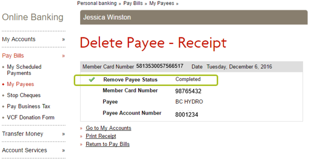 Delete payee desktop 3