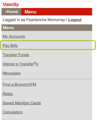 Pay bill mobile web