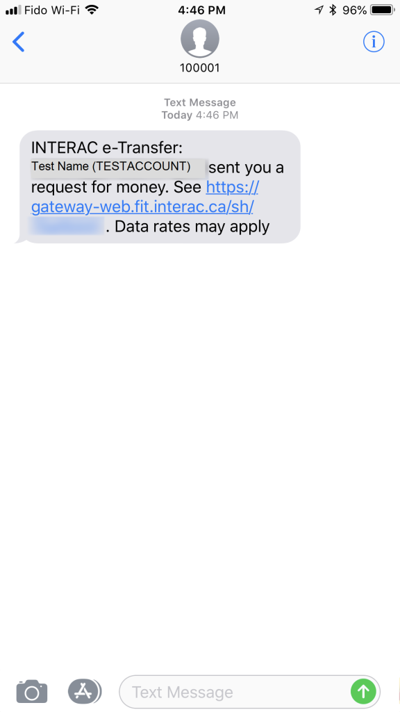 Interac Request Money Sample text