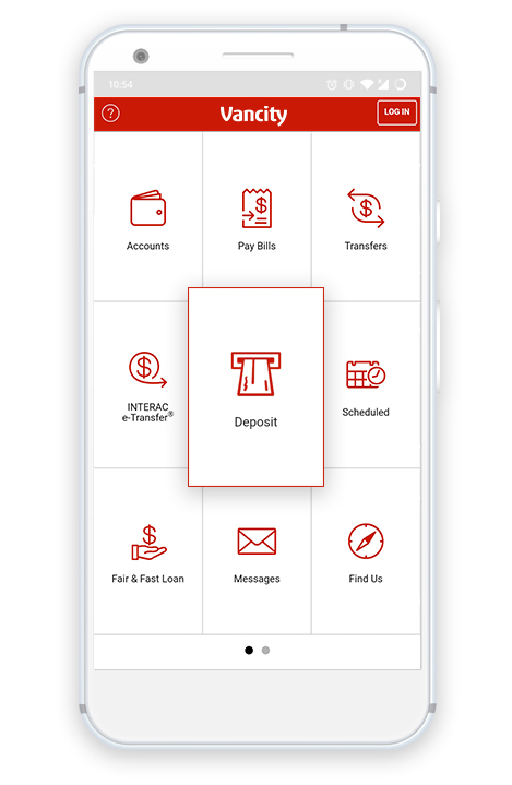 Cheque deposit in the middle tile on the Vancity mobile app