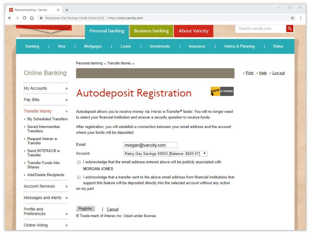 How Do I Set Up Autodeposit For Interac E Transfer