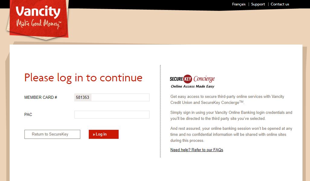 login screen Vancity SecureKey