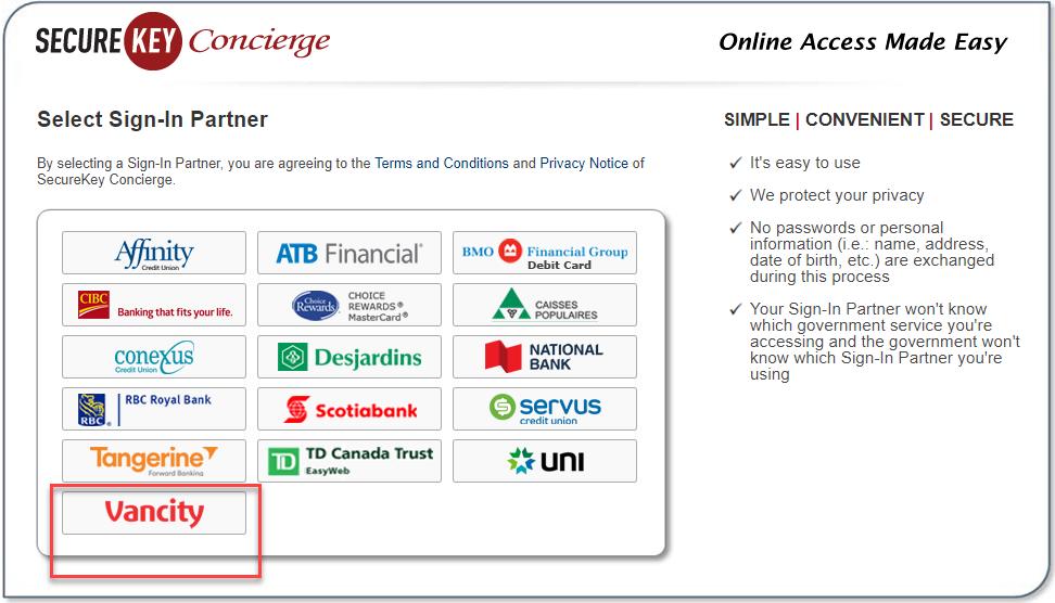Sign in Partner login with Vancity