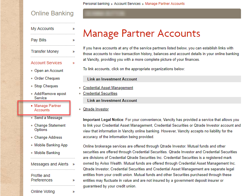 Manage partner accounts page vancity.com