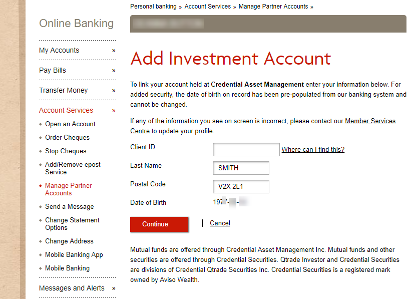 Add investment account page
