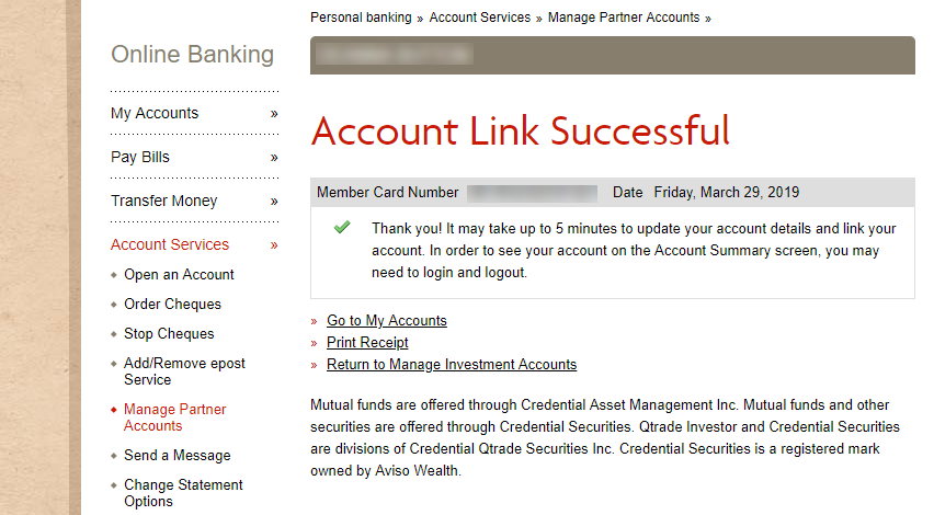 Successful link page for adding investment accounts