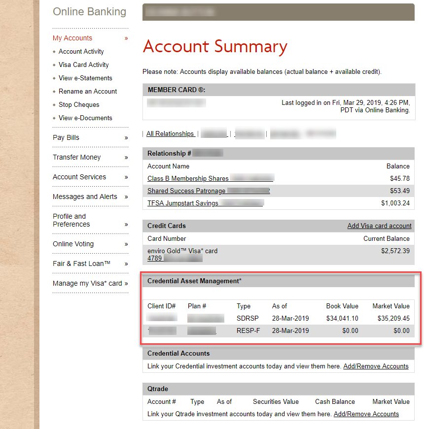 Account summary page with investment account added