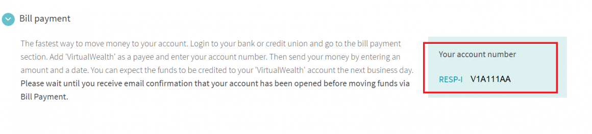 virtualwealth account number
