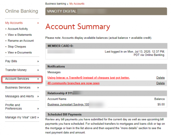 Account summary page Account services