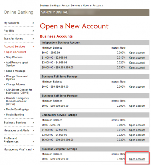 Select Open account on Business Accounts page