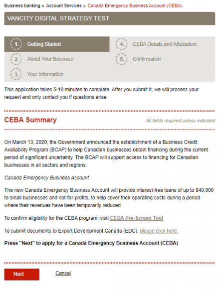 CEBA Form step 1